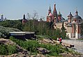 Moscow, Zaryadye Park. View to the Kremlin and Saint Basil's Cathedral and the Church of Saint Barbara.jpg