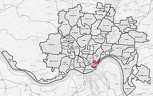 Mt. Adams (red) within Cincinnati