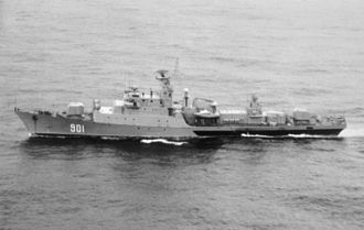 Koni-class frigate - Mourad Rais of Algerian National Navy in 1986. One of the warm-water export versions.