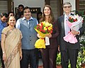 Mr. and Mrs. Bill and Melinda Gates, Co-Chairs of the Bill & Melinda Gates Foundation calls on the Union Minister for Road Transport & Highways and Shipping, Shri Nitin Gadkari, in New Delhi on September 19, 2014.jpg