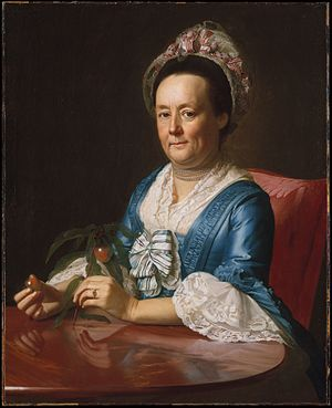 John Winthrop (educator) - A painting of his wife, Hannah Fayerweather Winthrop, by John Singleton Copley (1773)