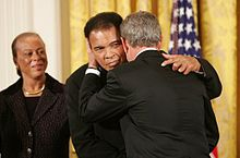 Muhammad Ali was awarded with the Presidential Medal of Freedom by George W. Bush on November 9, 2005 at White House and after that George W. Bush embraced him.