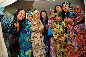 English: Muslim women in colourful s (the term...