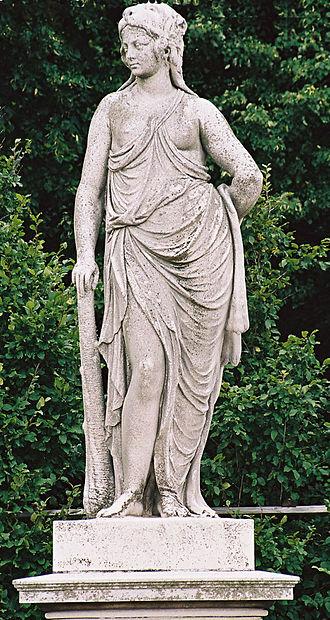Omphale - Omphale wearing Hercules' garb, 18th-century sculpture from the Schönbrunn Garden by Joseph Anton Weinmüller