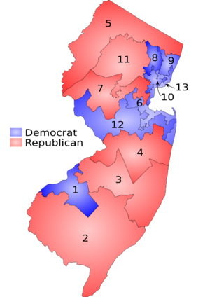 Constitution of New Jersey - The New Jersey Districts as of 2001.