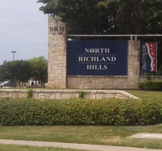 North Richland Hills, Texas - One of the welcoming signs on Boulevard 26.