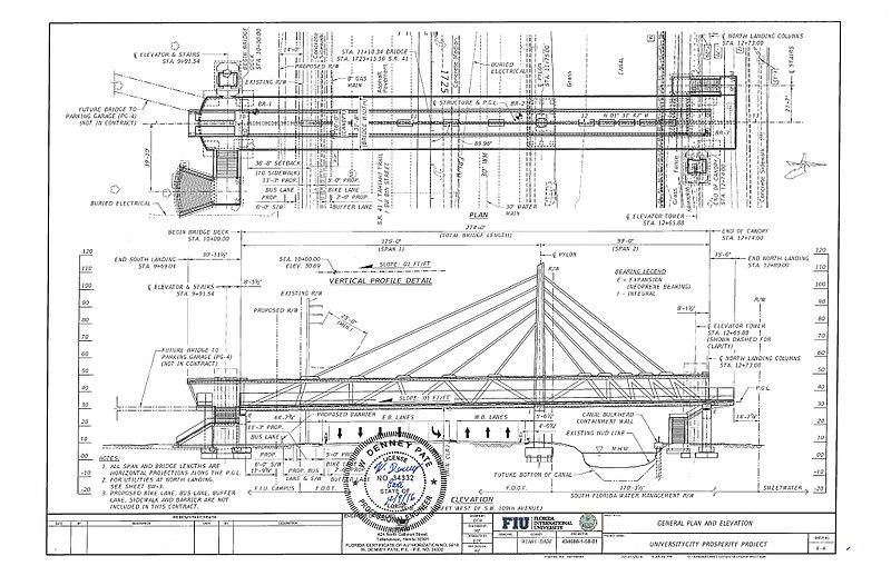 Elevation Engineering Drawing of Proposed FIU Sweetwater Pedestrian Bridge