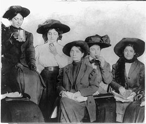 Labor history of the United States - New York City shirtwaist workers on strike, taking a lunch break.