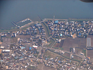 Namegata, Ibaraki - Aerial view of marina on Lake Kasumigaura in Namegata