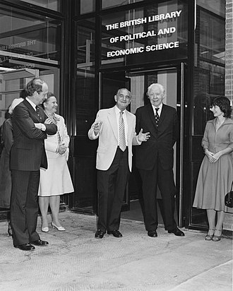 Huw Wheldon - Huw Weldon (centre) at an LSE building opening