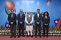 Narendra Modi, the Minister of State for Youth Affairs and Sports (IC) and Information & Broadcasting, Col. Rajyavardhan Singh Rathore and other dignitaries at the 2017 FIFA U-17 World Cup match, in New Delhi.jpg