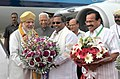 Narendra Modi being received by the Governor of Karnataka, Shri Vajubhai Rudabhai Vala and the Chief Minister of Karnataka, Shri Siddaramaiah, on his arrival at Bengaluru. The Union Minister for Law & Justice.jpg