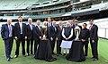 Narendra Modi with the Prime Minister of Australia, Mr. Tony Abbott, Shri Sunil Gavaskar, Shri Kapil Dev and Shri V.V.S. Laxman at the Civic Reception hosted by the Australian PM, at MCG, Australia on November 18, 2014 (1).jpg