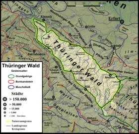 Carte de la forêt de Thuringe.