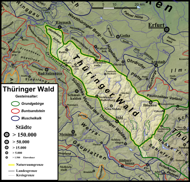 Der Thüringer Wald und seine unmittelbare Umgebung; die halbinselartigen Südost-Ausläufer ins Schiefergebirge Masserberger und Crocker Scholle sind ebenfalls aufgehellt.