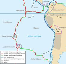 In alto a sinistra della placca di Nazca è possibile vedere la microplacca delle Galápagos.