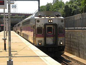 Needham Line - A Needham Line train at Forest Hills station in 2007