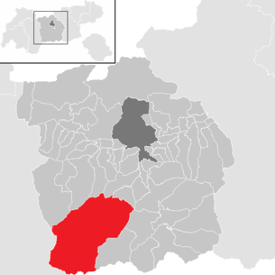 Location of the community Neustift im Stubaital in the Innsbruck-Land district (clickable map)