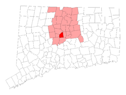 Location within Hartford County, کنیکٹیکٹ