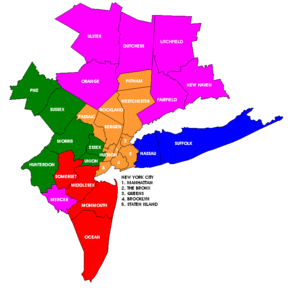 New York Metropolitan Area Counties Illustration