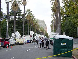 California gubernatorial recall election - Newsvans at Schwarzenegger inauguration.
