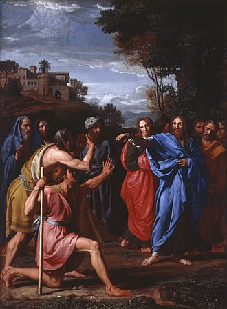 Healing the man blind from birth - Christ healing the blind, by Nicolas Colombel, 1682