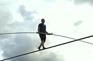 Skywire Live - Wallenda practices walking the wire in Sarasota, Florida on June 14, 2013.