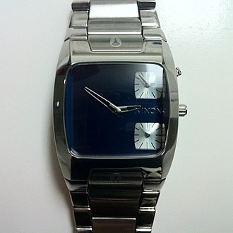 "Nixon (company) - Nixon's ""The Banks"" watch. It features a dial that keeps the seconds, and a third dial to have the time in another time zone."