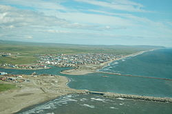 Aerial view of the harbor in Nome