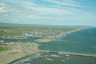 Nome, Alaska - An aerial view of Nome, Alaska, in July 2006