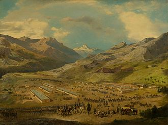Austro-Hungarian campaign in Bosnia and Herzegovina in 1878 - Northern Austro-Hungarian camp near Mostar, by Alexander Ritter von Bensa and Adolf Obermüller