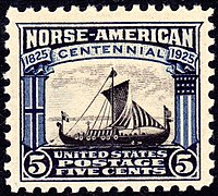 Bicolor five cent postage stamp showing a Viking ship, pointed right (east)