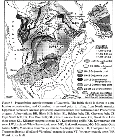 This is a North American map showing Archean provinces and Proterozoic and Phanerozoic orogenies.
