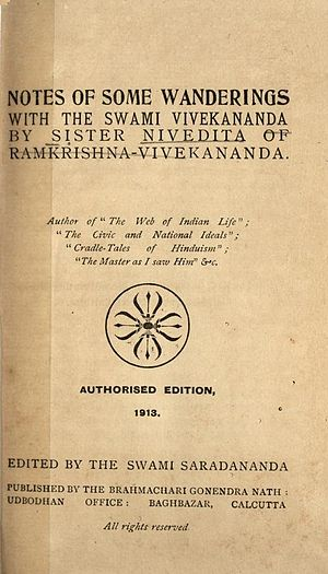 Notes of Some Wanderings with the Swami Vivekananda - Notes of Some Wanderings with the Swami Vivekananda 1913 title page