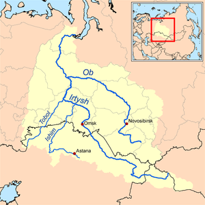 Tobol River - Map of the Ob-Irtysh drainage basin showing the Tobol river