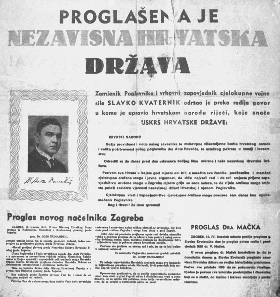 Official Proclamation of the Independent State of Croatia
