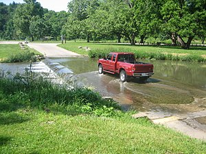 White Pines Forest State Park - A Ford F-series crossing one of the park's fords at Pine Creek