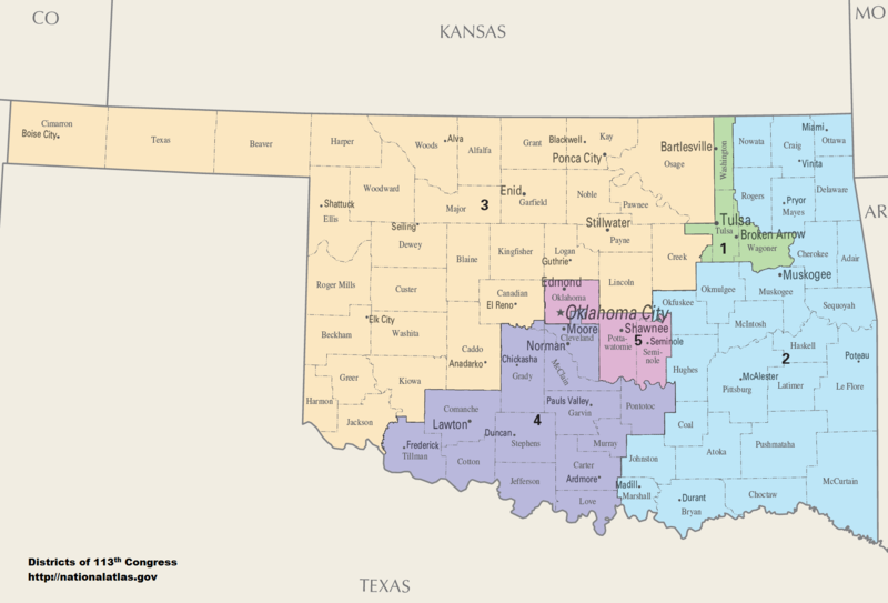 The State's districts since 2013 Oklahoma Congressional Districts, 113th Congress.tif