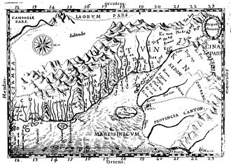 "Da Nang - Map of Annam drafted by Alexandre de Rhodes. ""Cua han"" appears along the coast (upside-down, left of centre)."