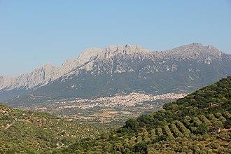 Monte Corrasi - Monte Corrasi with  Oliena in the foreground.