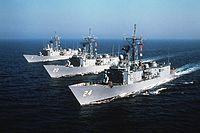 Oliver Hazard Perry-class frigates underway in 1982.JPEG
