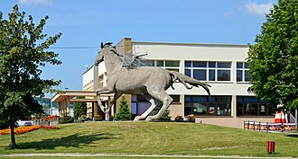 Opoczno - Opoczno Cultural Centre, with Pegasus sculpture