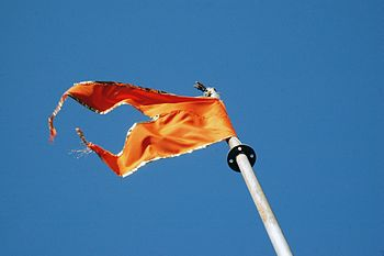 English: Orange Hindu temple flag in the breeze.