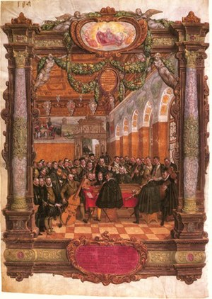 Music of Belgium - Lassus leading a chamber ensemble (contemporary painting by Hans Mielich)
