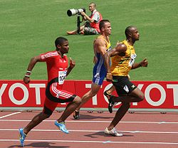 Asafa Powell leading a heat at the 2007 World Championships in Osaka, Japan
