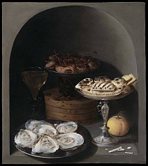 Still Life with Oysters, Sweetmeats and Dried Fruit in a Stone Niche