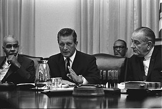 Otto Kerner Jr. - Kerner (center) meeting with Roy Wilkins (left) and President Lyndon B. Johnson (right) at the White House in 1967.