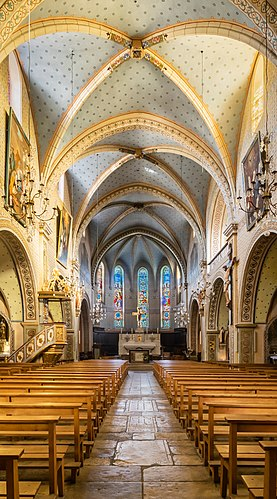Interior of the Our Lady church in Marvejols, Lozère, France