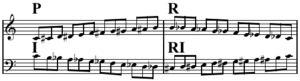Twelve-tone technique - Prime, retrograde, inverted, and retrograde-inverted forms of the ascending chromatic scale. P and RI are the same (to within transposition), as are R and I.