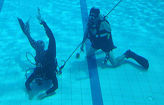 PASKAU - A PASKAU trainee in the Diving Phase being supervised by a US Air Force 320th Special Tactics Squadrons instructor.